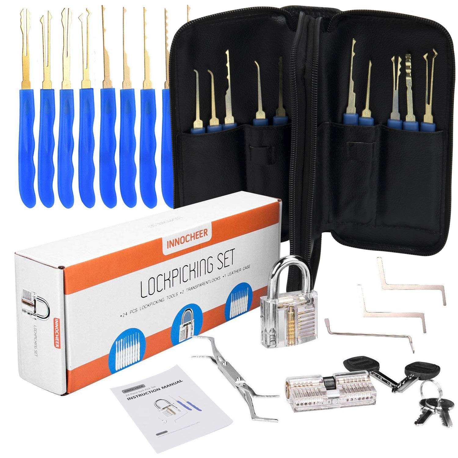INNOCHEER Lock Pick Set, Lock Picking Tools 24 Pieces - with 2 Transparent Training Padlocks for for Beginners, Locksmith, Unlocking Practice, House Lock, Picking Training, Carrying Case is Included