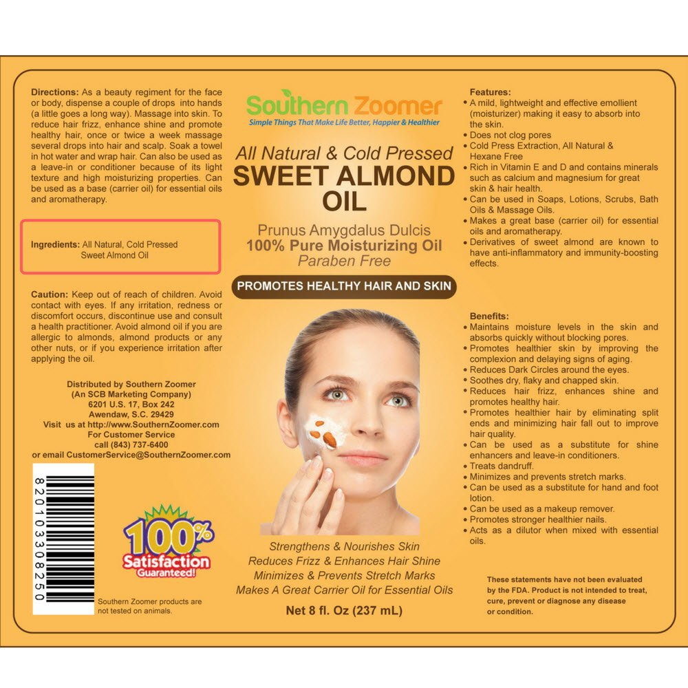 Sweet Almond Oil. 100% Pure - Cold Pressed - Paraben & Hexane-free Moisturizing Oil. FREE ebook''Best Uses and Benefits'' - Perfect carrier to dilute Essential Oils. Use in Aromatherapy - Lotions.