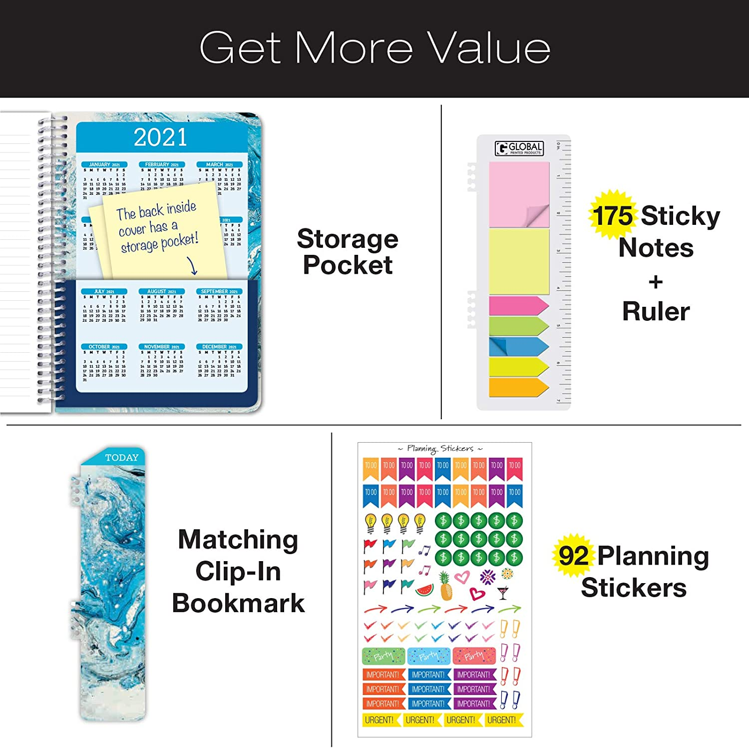 Bonus Bookmark HARDCOVER Calendar Year 2020 Planner: Pocket Folder and Sticky Note Set 5.5x8 Daily Weekly Monthly Planner Yearly Agenda November 2019 Through December 2020 Blue Marble