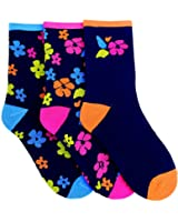 Womens/Ladies Leaf And Flower Print Cotton Rich Socks (Pack Of 3)
