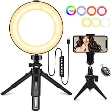 JBAG 10 Inch USB Ring Light with Phone Holder 3 Dimmable Color 10 Brightness Levels Vlog Makeup Ring Lamp for Streaming YouTube Video