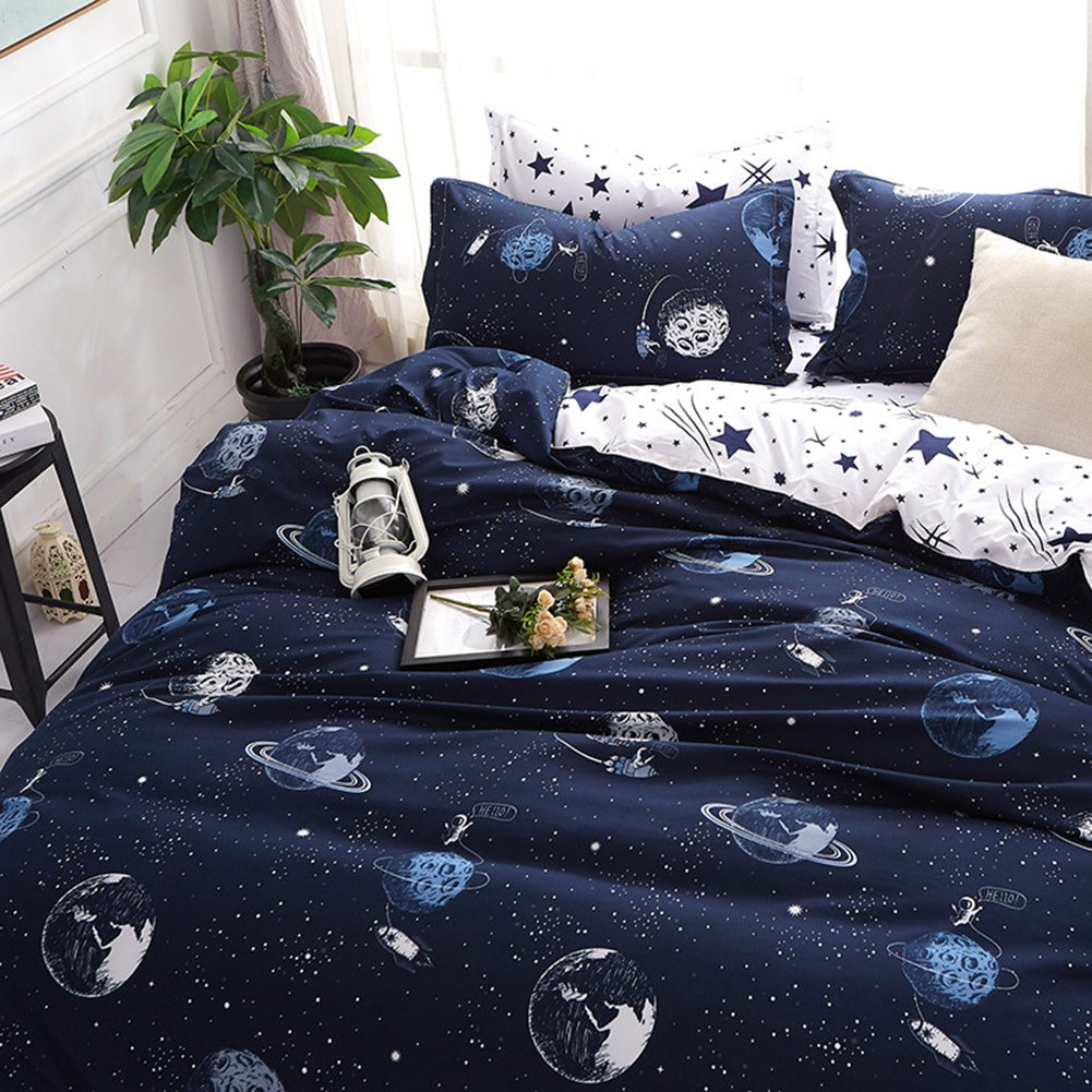 Dark Galaxy Bedding Stars Duvet Cover Set Solar System and Stars Printed Reversible Design Dark Blue/White Bedding Set