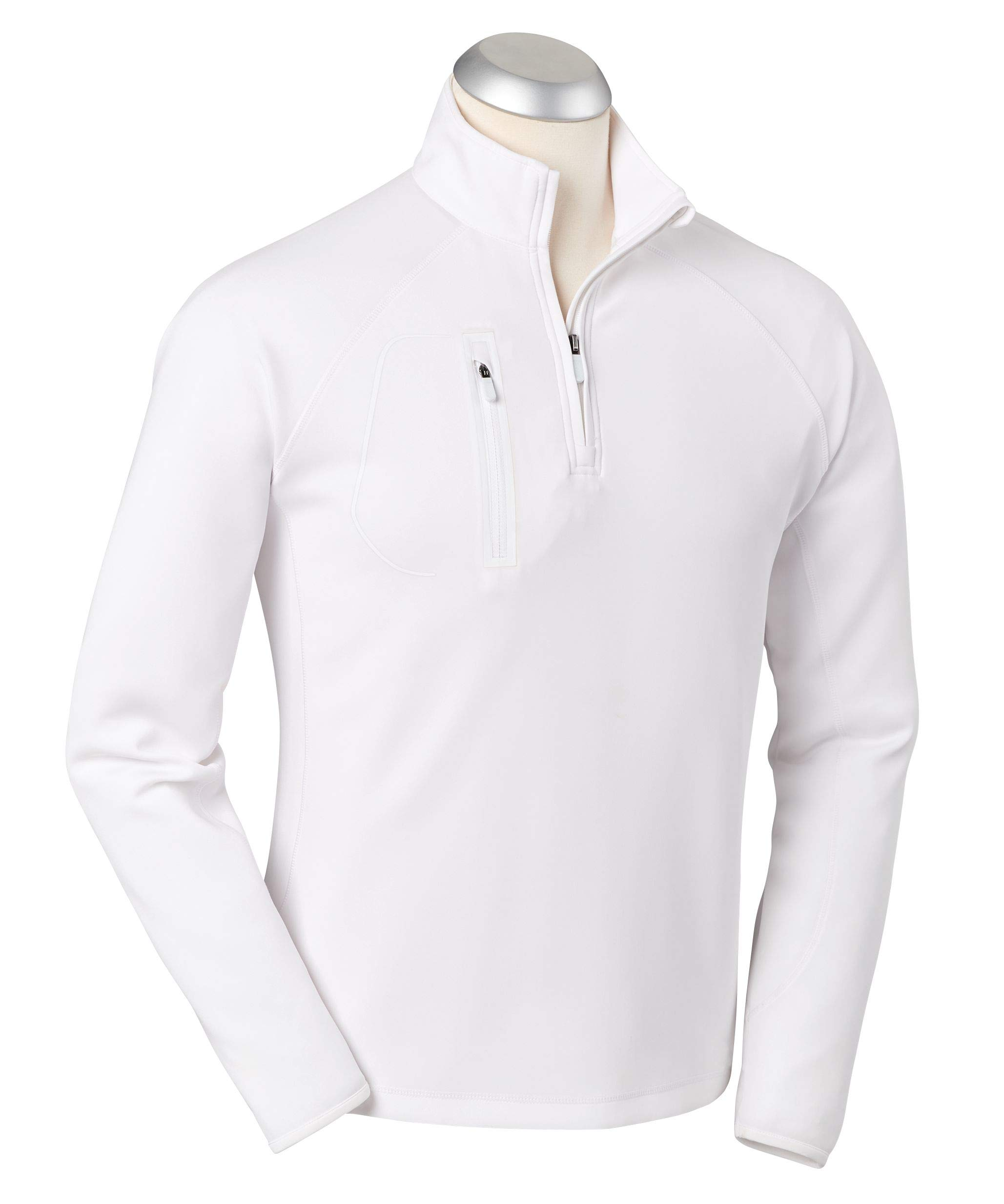 Bobby Jones XH2O Crawford Performance Golf Pullover - Men's 1/4 Zip Pullover Golf Apparel White by Bobby Jones