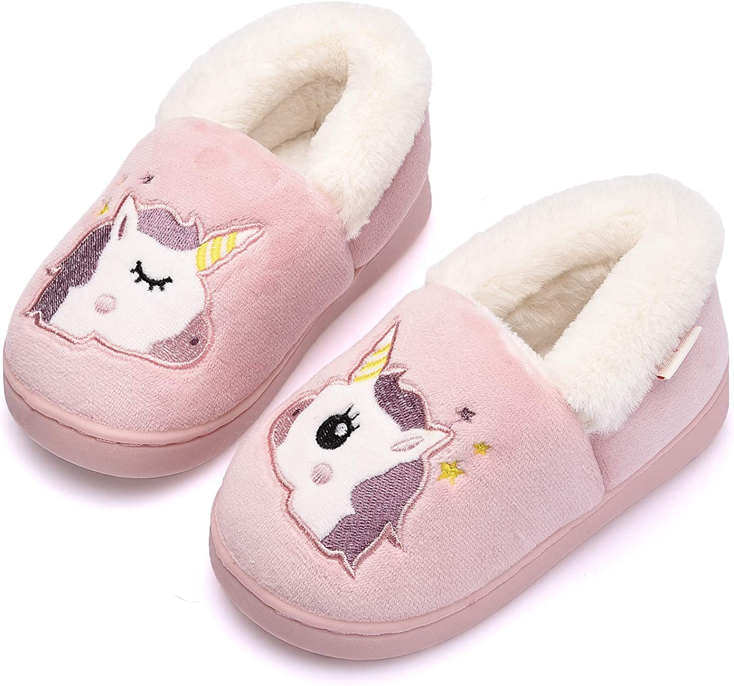 Holynissl Boys Girls Slippers Warm Fur House Slippers for Kids Non Slip Toddler Cute Home Slipper