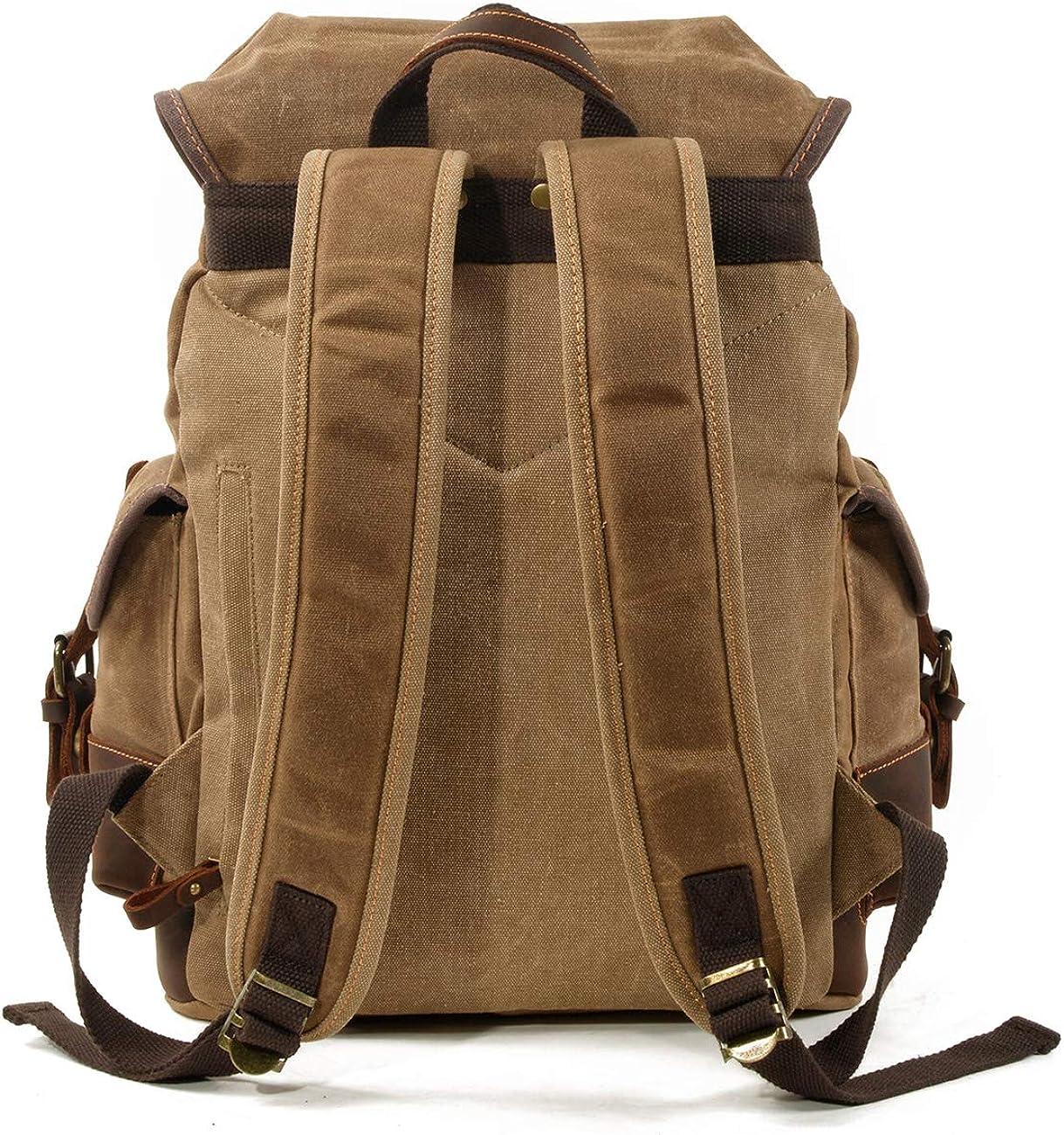 WUDON Men Travel Backpack Genuine Leather-Waxed Canvas Shoulder Hiking Rucksack