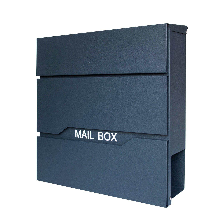 Anthrazit//Silber HENGMEI Design Briefkasten mit Zeitungsrolle Postkasten Wandbriefkasten Mailbox Gro/ß Zeitungsfach Edelstahl pulverbeschichtet M Modell