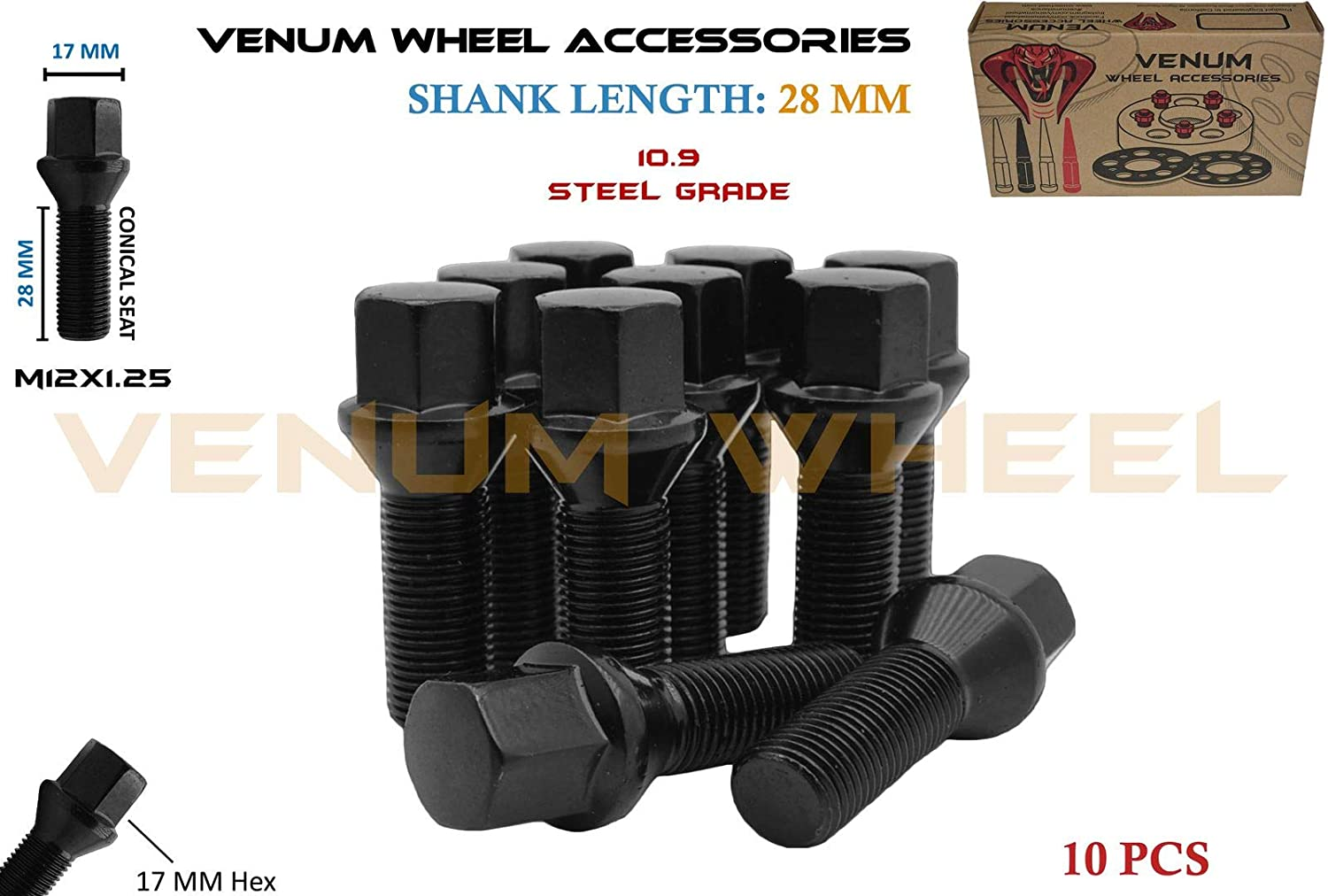 Venum wheel accessories 10Pc Black Powder Coated M12x1.25 Conical Seat Lug Bolts 28 MM Factory Shank Length Works with Jeep Fiat Dodge Chrysler Alfa Romeo Factory & Aftermarket Wheels