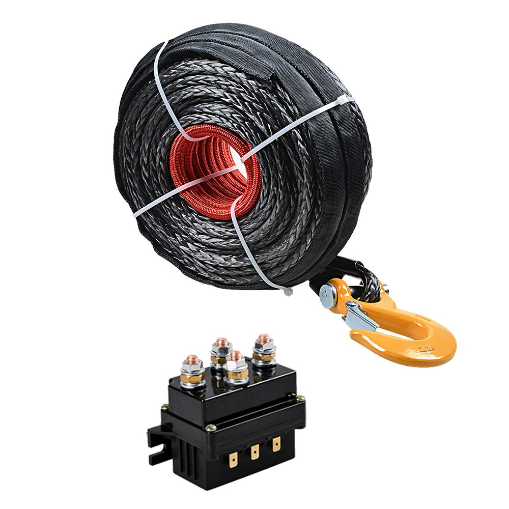 Amazon.com: Combo BLACK 95ft 3/8 inch Synthetic Winch Rope Cable w ...