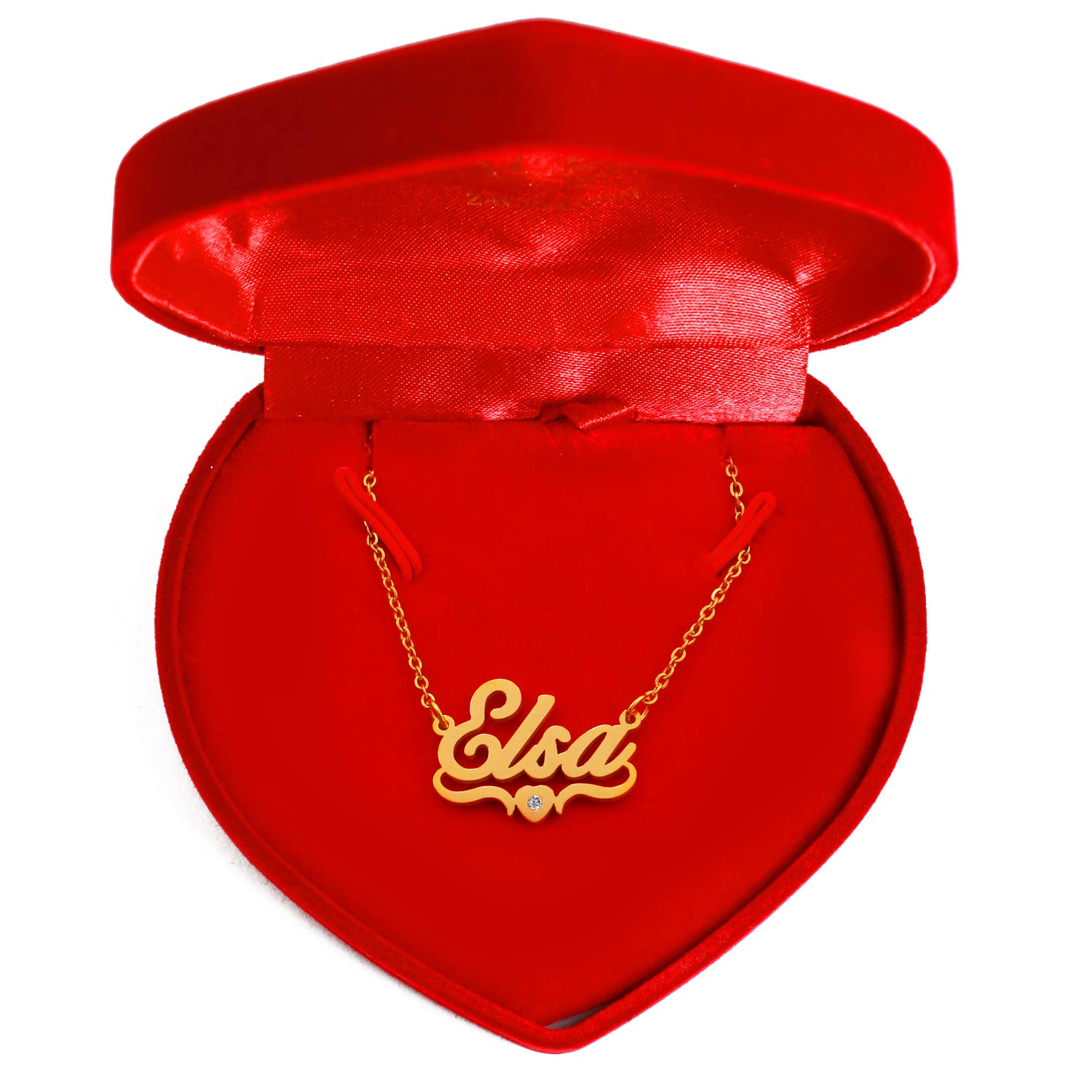 Heart Shaped 18ct Gold Plated Kigu ELSA Personalized Custom Name Necklace