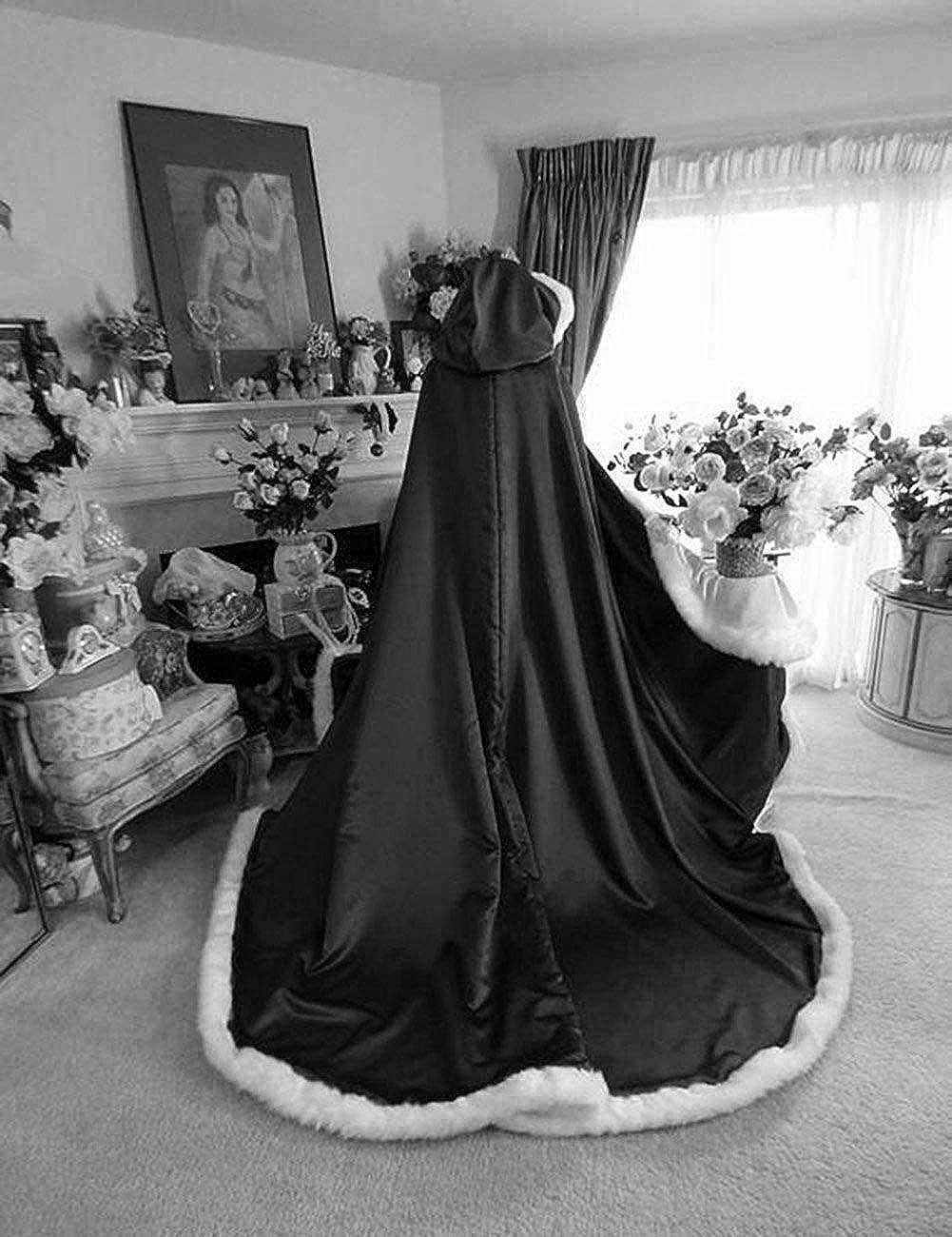Lemai Warm Long Wedding Cloak Hooded Cape Winter Fur Trim and Hand Muff 71 IN