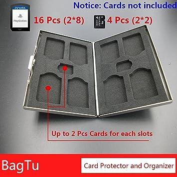 20 IN 1 PS Vita Card Case Tarjeta de Juego y Soporte para Tarjeta de Memoria con Lables, BagTu Caja de Almacenamiento Protector de Doble Capa para ...