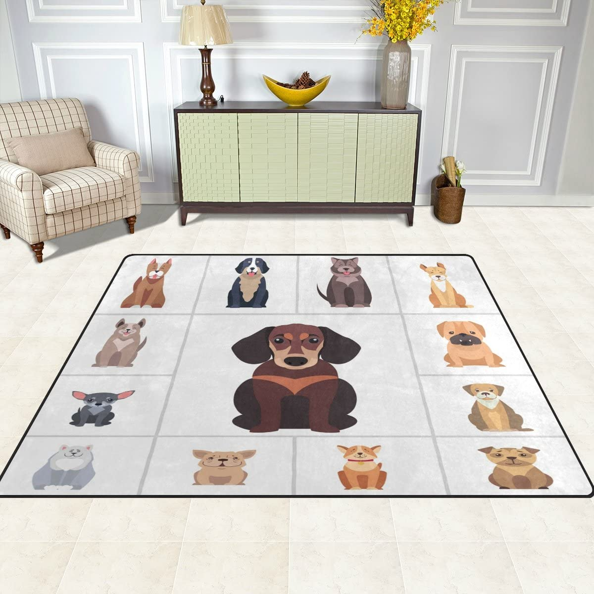 ALAZA Cartoon Dachshund Puppy Dog Area Rug Rugs for Living Room Bedroom 7 x 5
