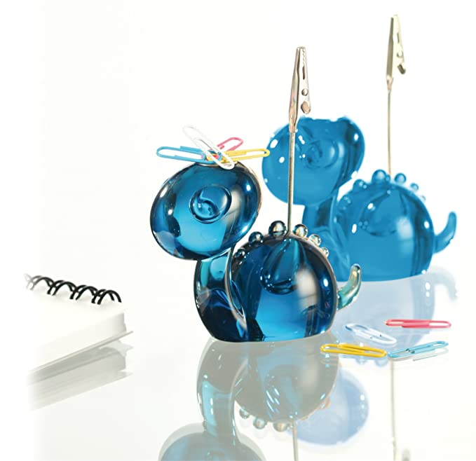 Genie Dino Acryl Zoo Visitenkartenhalter und B/üroklammerhalter Dino-Design, massiv blau