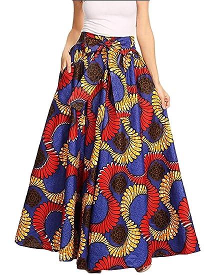 f6c36eb5550 Gocgt Women African Printed Plus Size High Waist Ankara Maxi Skirt at  Amazon Women s Clothing store