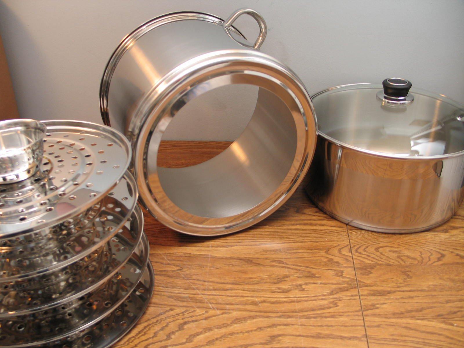 5 Tier/Level 18 qt Uzbek 18/10 Stainless Steel Steamer Cooker Warmer w/Tempered Glass Cover for Dumplings, Ravioli, Vegetables, Fish, Manti, Mantovarka