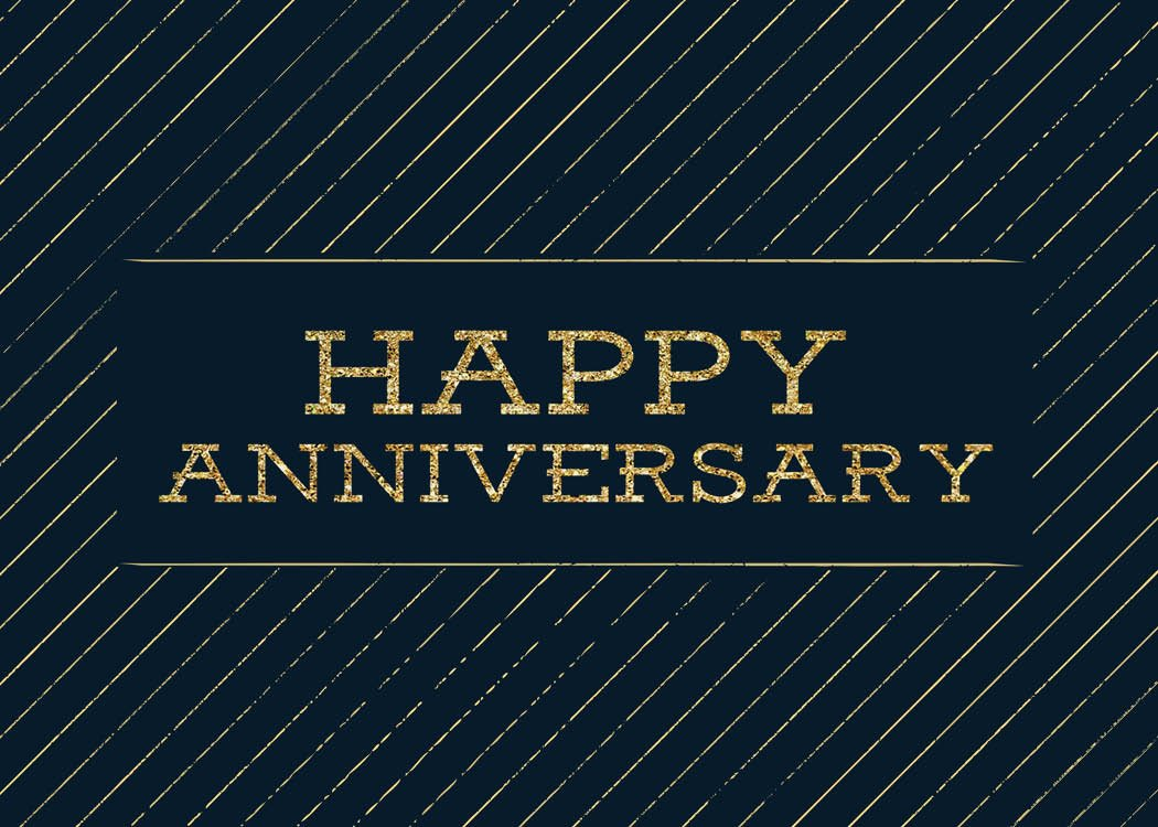 Anniversary Greeting Cards - A1703. Business Greeting Card Featuring Happy Anniversary with Gold Stripe Designs on a Black Background. Box Set Has 25 Greeting Cards and 26 Bright White Envelopes.