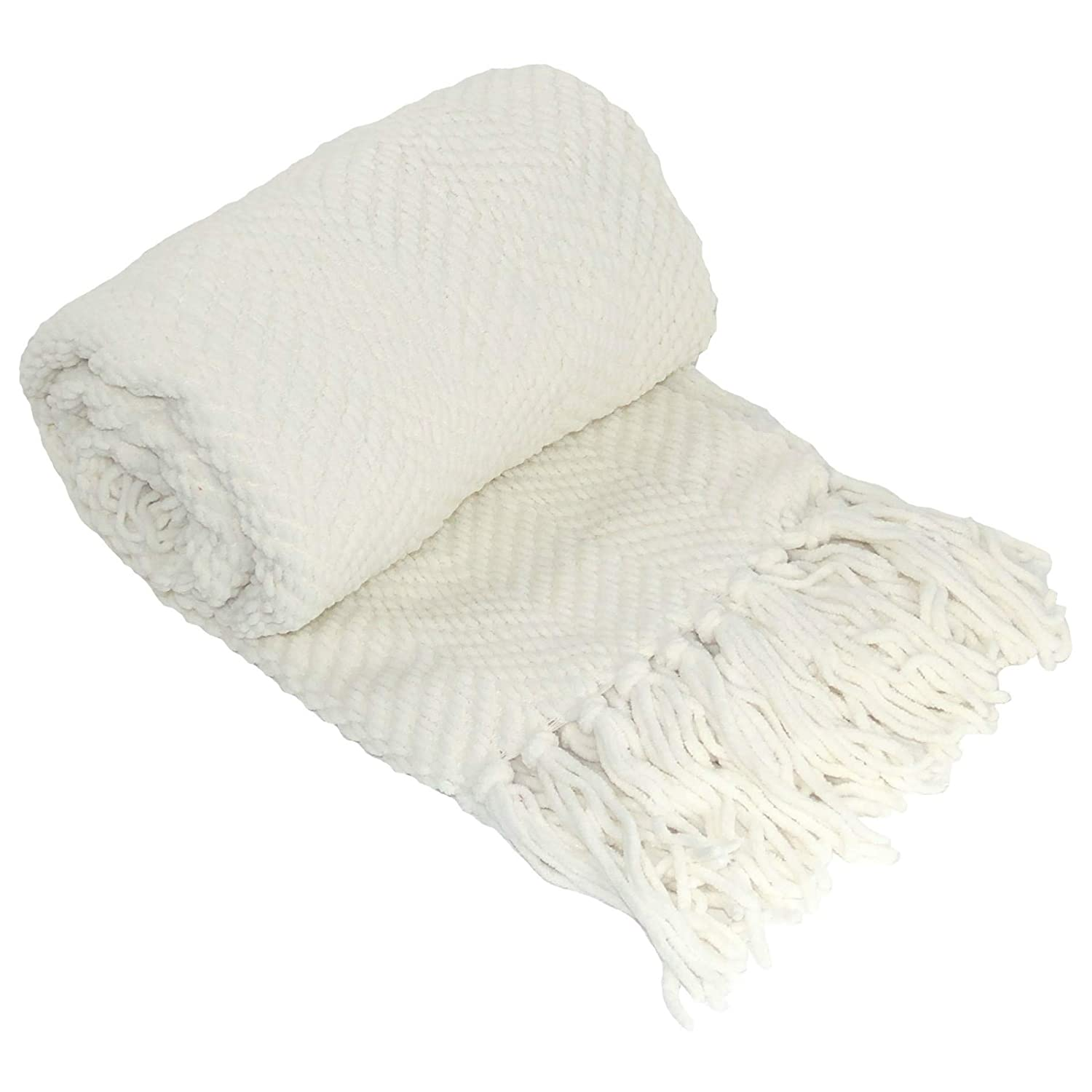 """Home Soft Things Knitted Tweed Throw Blanket, 60"""" x 80"""", Antique White"""