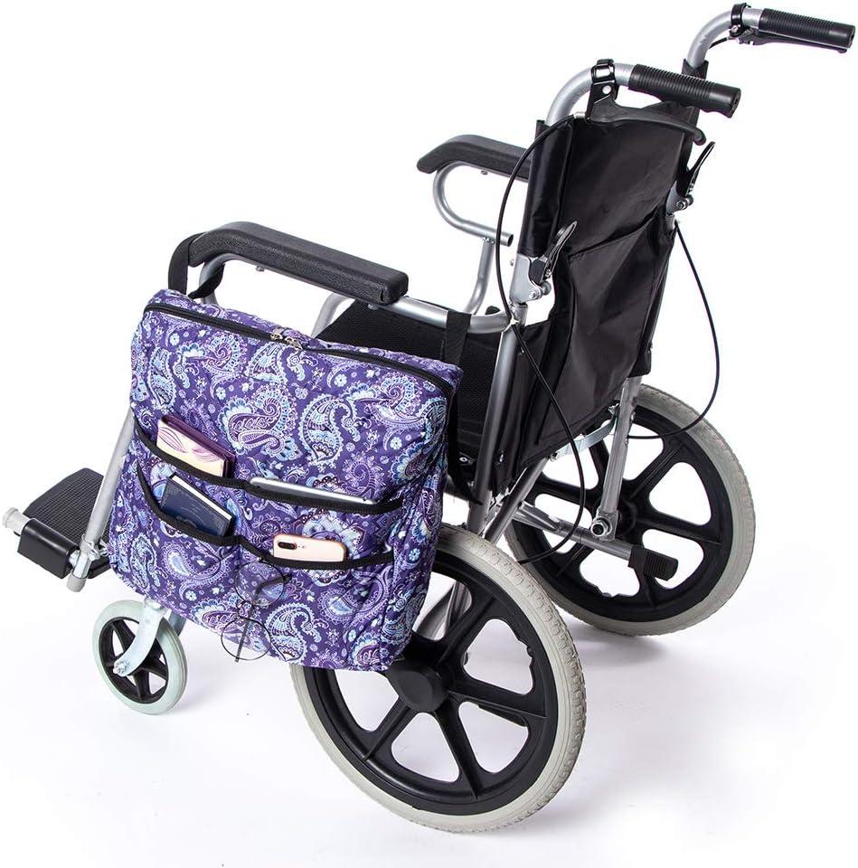 Bolsa de almacenamiento para silla de ruedas TUYU, mochila universal Mobility Scooter, bolsillo lateral para silla de ruedas resistente al agua, para discapacitados (púrpura)