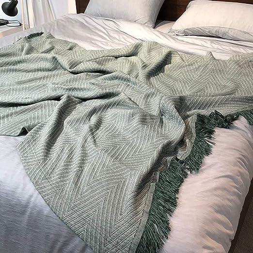 Manta de sofá de algodón de Verano, Manta, diseño geométrico, Siesta, Manta Delgada, Fibra de bambú Simple, Toalla de Punto, edredón, Toalla de sofá Doble, A-200x230cm: Amazon.es: Hogar