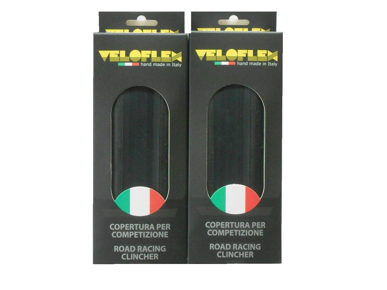 2本セット Veloflex Corsa コルサ クリンチャータイヤ 700c ヴェロフレックス [並行輸入品] B01M144VOVブラック 700×25c(コルサ25)