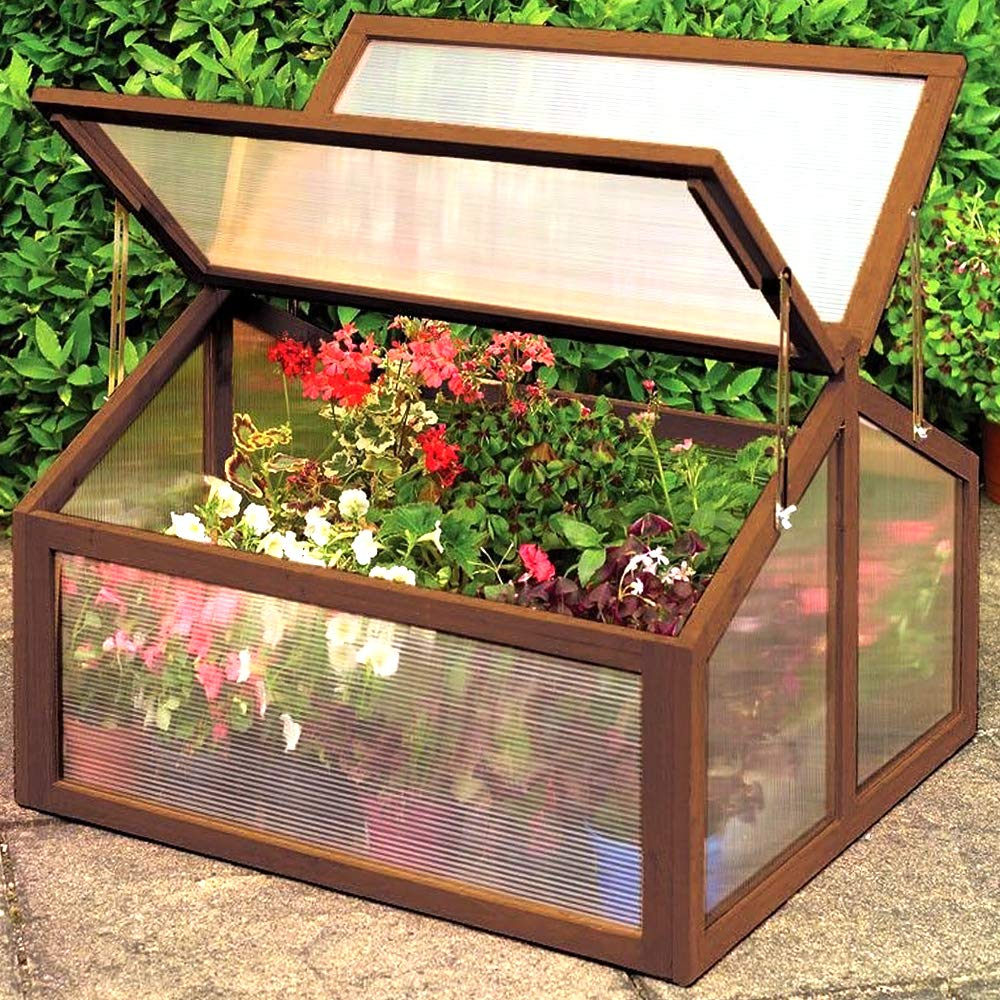 Garden Portable Wooden Greenhouse Cold Frame for Raised Flower Planter Protection 35.4'' Long x 31.3'' Wide x 23'' High