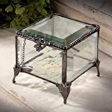J Devlin Box 326 Polished Beveled Glass Box Decorative Metal Feet and Edging Keepsake Gift Jewelry Chest