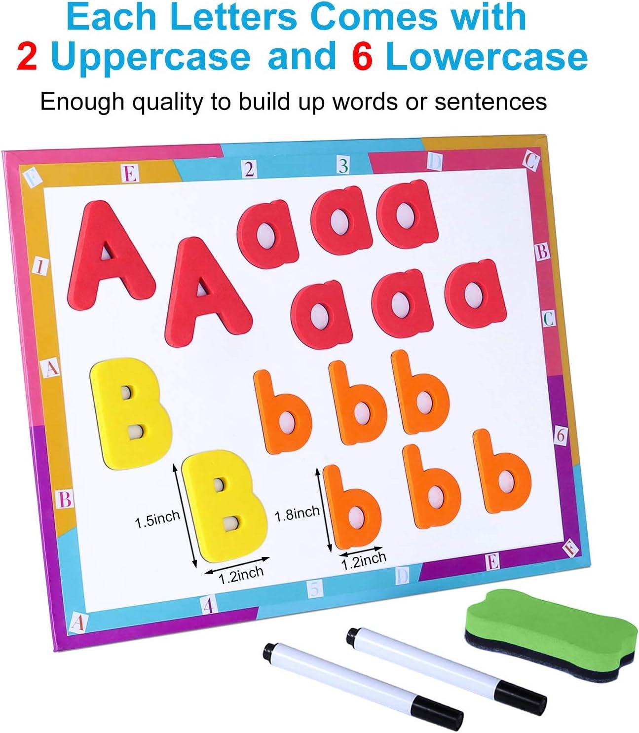 Amazon.com: 225 letras y números magnéticos para niños con ...