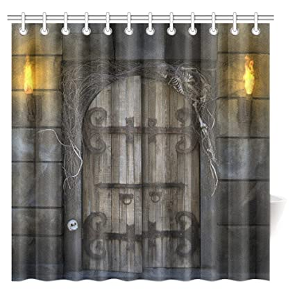 InterestPrint Spooky Dungeon Door Shower Curtain Ancient Historical Gate Stone Wall Gothic Polyester Fabric Bathroom