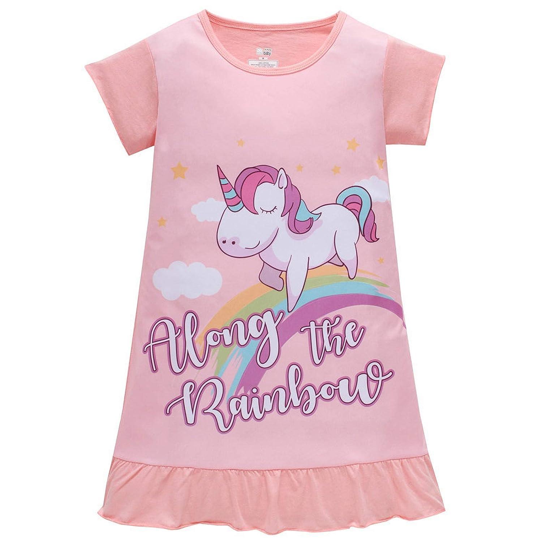 AOSKERA Camicie da Notte per Unicorno da Bambina 100% Cotone Pigiama Maniche Corte da 3 a 10 Anni