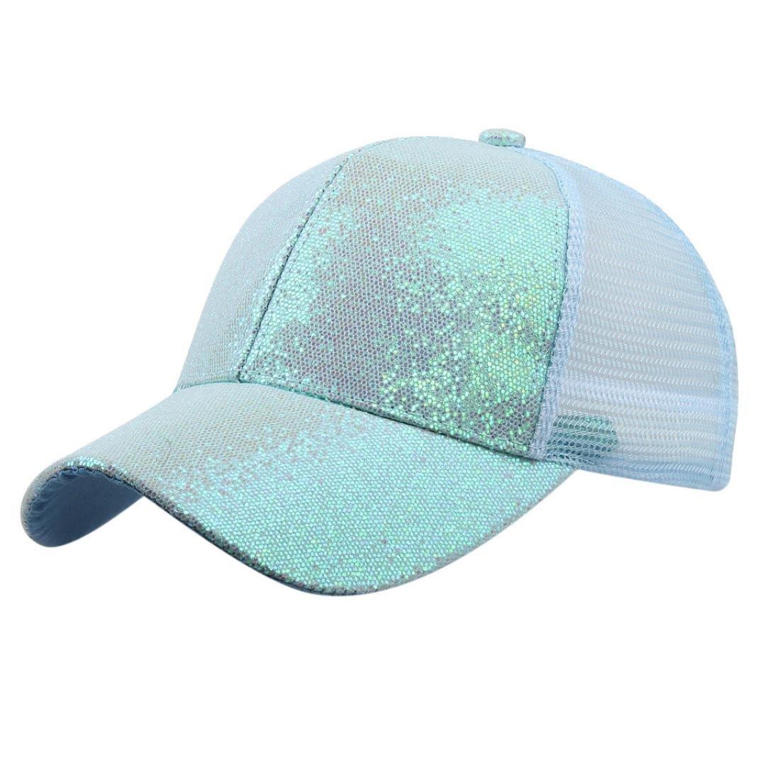 078bc46d5d4 Amazon.com  KFSO Women Man Ponytail Baseball Cap Sequins Shiny Messy Bun  Snapback Hat Sun Caps (Blue