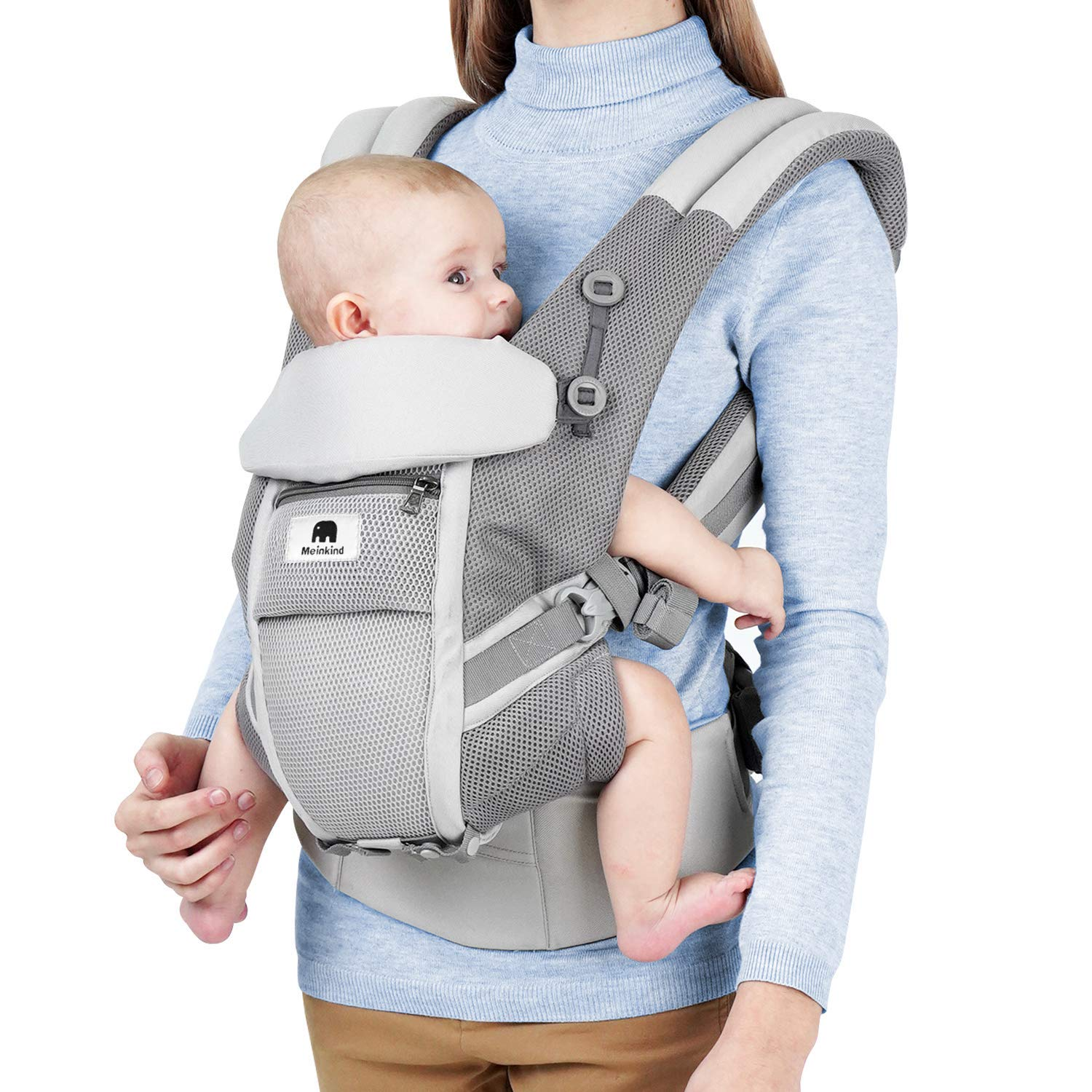 3.8 to 20 kg Baby Carrier for Newborn Puzzlos 4-in-1 Newborn to Toddler Baby Carrier Backpack and Front Baby Sling Carrier up to 48 Months Grey Model A