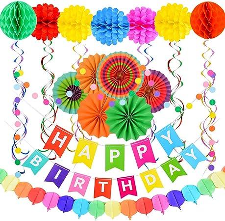 tianshi Meritorious 28 Pack de Decoraciones de Feliz cumpleaños Suministros – Pancarta Colorida de Feliz cumpleaños, Guirnalda de Papel para Decoraciones de cumpleaños: Amazon.es: Hogar