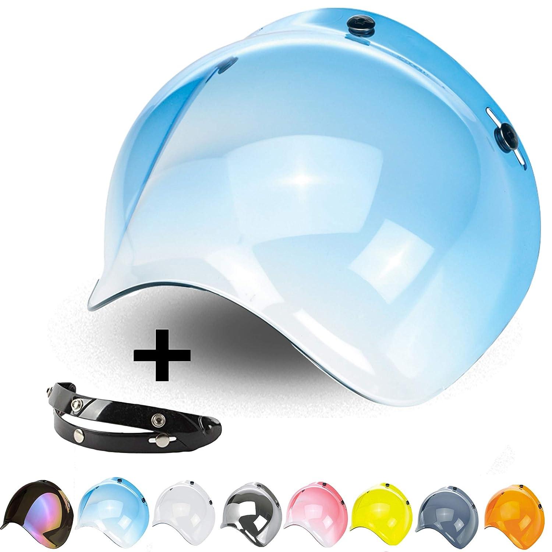 Bubble Visor 3 Snaps Flip-Up Jet Open Face Helmet Custom Adjustable Mechanism 3 Heights Harley Biltwell Bell Dmd Bandit AFX Vintage Nolan Agv Origin Cafe Racer Blue
