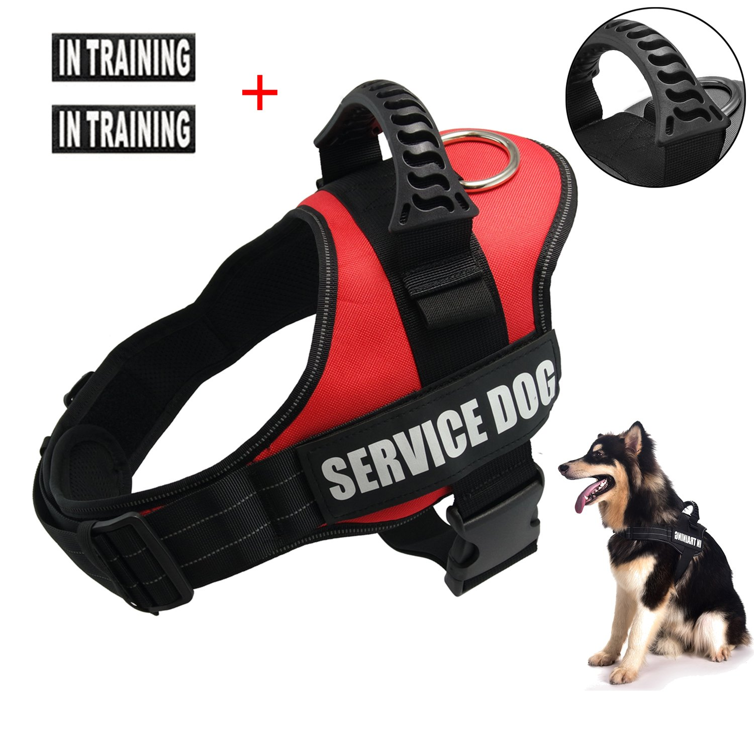 Servcie dog In Training Vest Harness-Reflective Vest wih Comfortable Handle for Medium Dogs,Purchase Come with 2 Reflective IN TRAINING +Service Dog Velcro Patches-Size M