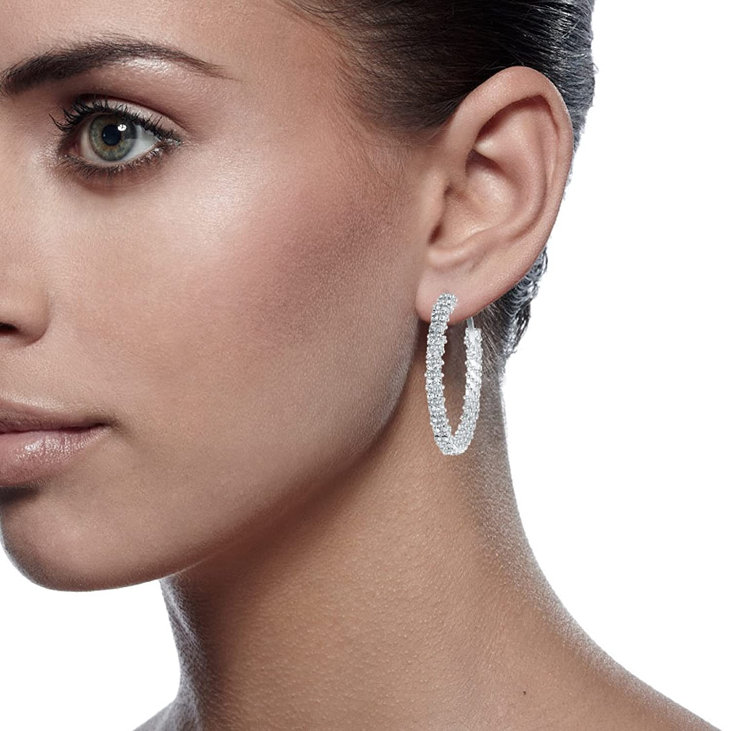 woman big crystal swarovski large plated zirconia women color hoop gemini s round earring com silver dp size earrings amazon jewelry