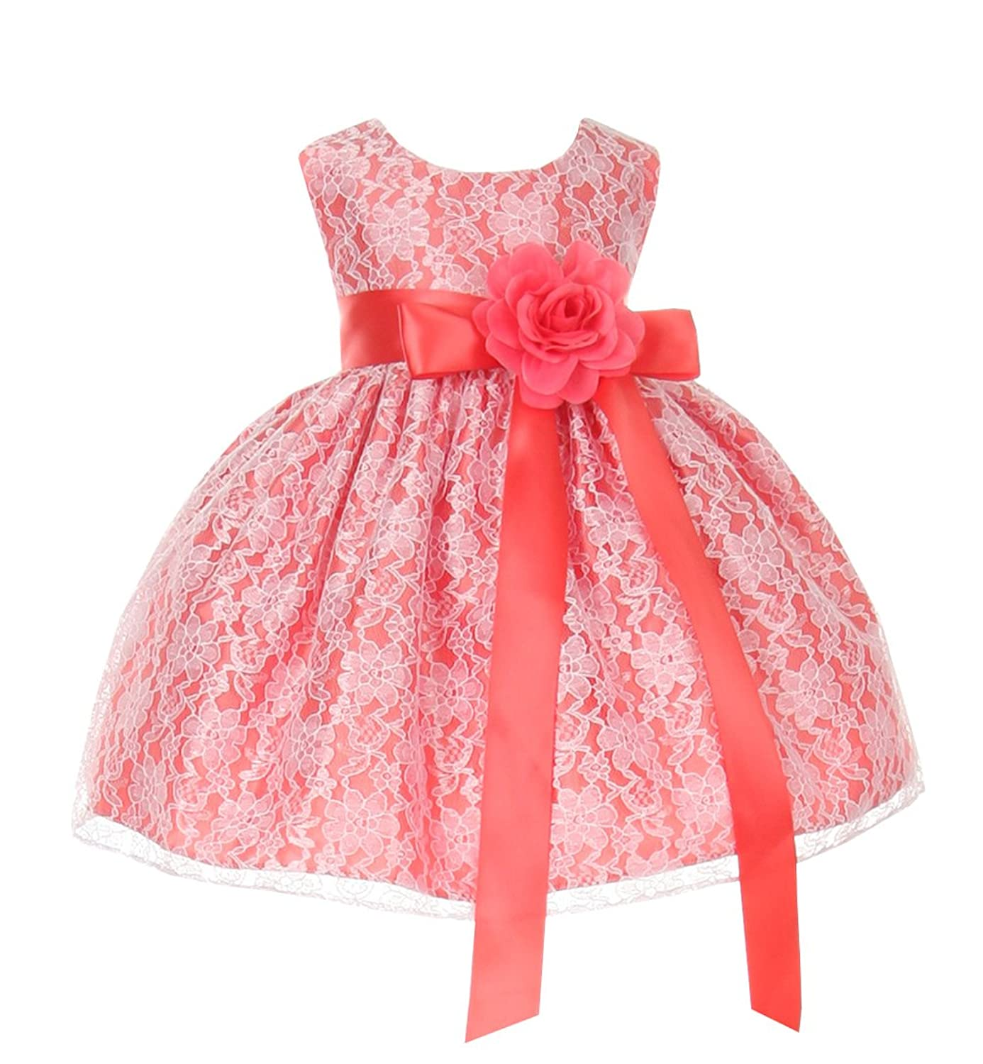 Cinderella Couture Baby Girls' Coral Lace Dress Coral Sash Coral Flw 12M M 1132B