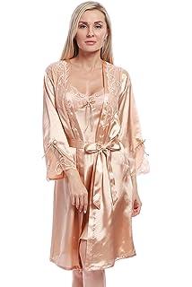 6af2150038 BellisMira Women s Satin Robe Silk Dressing Gown Lace Pyjamas Long  Nightdress Sexy Ladies Bathrobe Sleep Slip