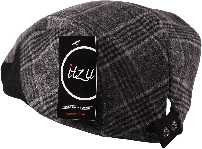 Itzu Premium Brushed Wool Flannel Flat Cap Hat Country Tweed Check Winter Warm Grey