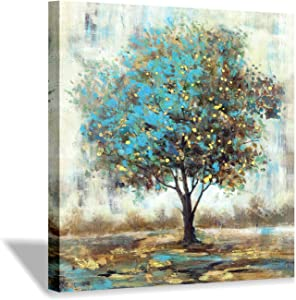 """Abstract Tree Picture Wall Art: Landscape Artwork with Gold Foil Painting on Canvas for Bedroom (24"""" x 24"""" x 1 Panel)"""