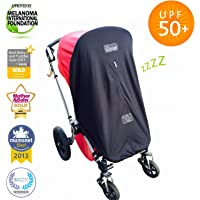 Baby Sun Shade and Blackout Blind for Prams and Strollers | Blocks 99% of UV | Breathable and Universal fit | SnoozeShade Original Limited Edition (Grey Trim)