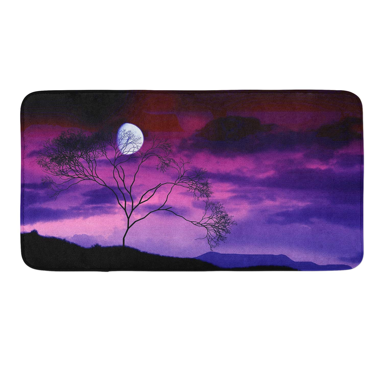 CIGOCI Anti-Slip Memory Foam Bath Mat Shower Rugs - Stranger Full Moon Starry Tree Thing Purple - 18 x 36 Inch Absorbent Quick-Dry Floor Mat Carpets Home Decor Bathroom Tub Kichen Rugs
