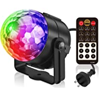 Party Light, Splaks Sound Activated 5 Colour 18 Modes Disco Light Remote Control Rotating Stage Light Strobe Lamp Ball…