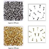 500 Pieces Paper Fasteners Brass Plated Scrapbooking Brads Round Metal Brads with Storage Box for Crafts Making DIY, Gold and Silver
