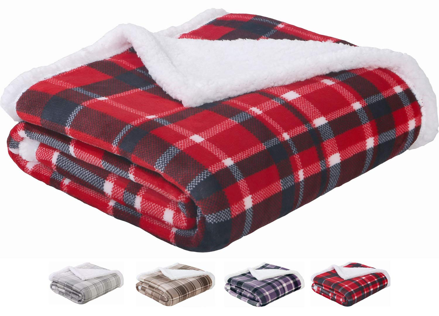 "SEDONA HOUSE Sherpa Blanket Throw Red Plaid - Luxury Flannel Fleece Warm Cozy Fuzzy Blanket, Size 50""x60"""