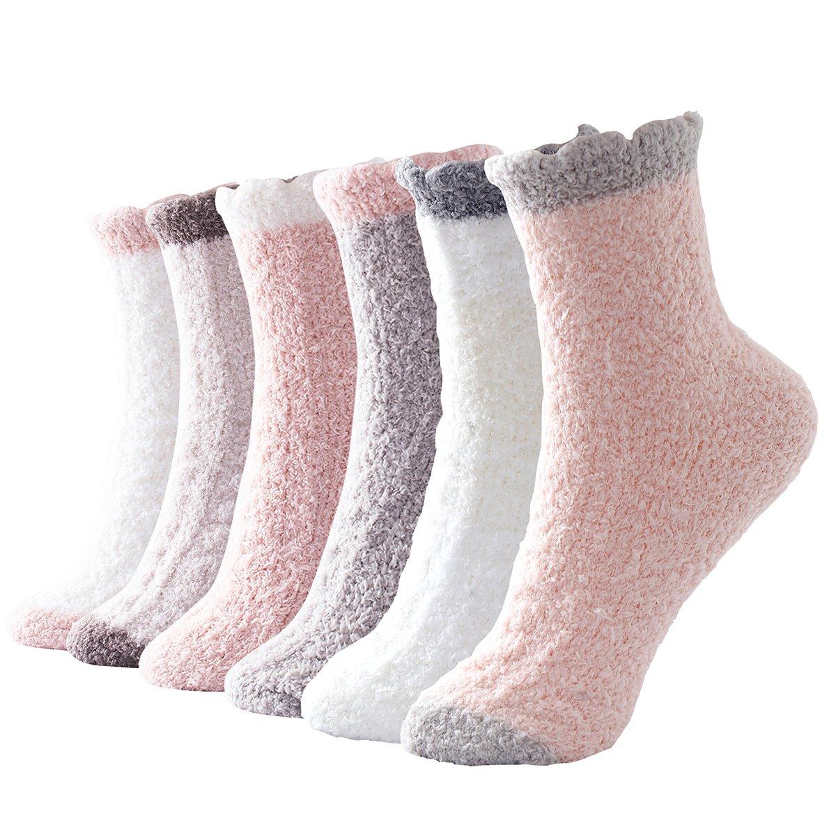 Beauttable Women Girls Premium Super Soft Toasty Plush Warm Fuzzy Microfiber Winter Socks Crew 6 Pairs (New Style Plain Color)