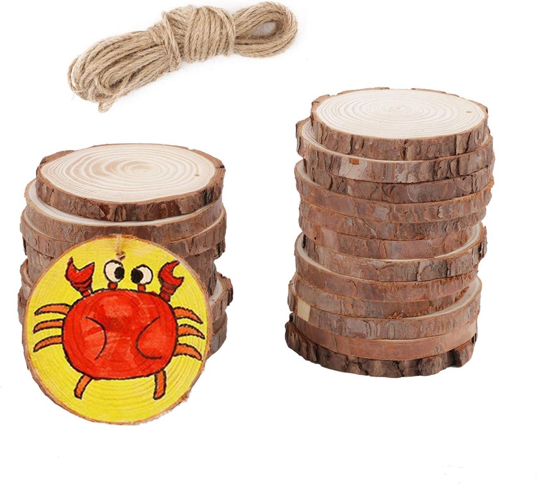 20Pcs Round Log Slices Discs Wooden Wood Crafts Centerpieces Wedding Decor US