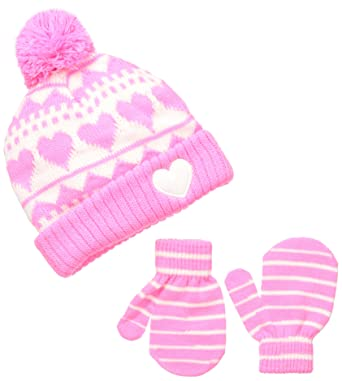 b5356789cbc Amazon.com  OshKosh BGosh Baby Girls  Girls  Knit Cuff Hat and Mitt ...