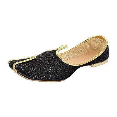 BombayFlow BACHCHAN Punjabi Jutti Sherwani Indian Dress Shoes Wedding Khussa Mojari Kurta Footwear | Loafers & Slip-Ons