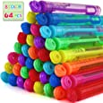 Laxdacee Bubble Wands Party Favors Pack of 64, Mini Neon Bubble Wands | Odor-Free Non-Toxic Kids' Bath Toy/Birthday Treats Bubble Maker Toys for Kids | Outdoor Summer Events & Celebration Toy Gift