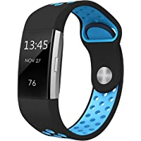 """SWEES Silicone Sport Bands Compatible Fitbit Charge 2, Breathable Sport Replacement Bands Air Holes Small & Large (5.7"""" - 8.3"""") Women Men, Black, Grey, Navy Blue, Pink, White, Teal"""